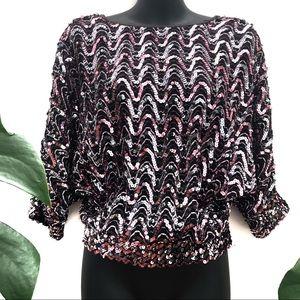 Design Collection Sequin Crop Top V-neck back Sz 8